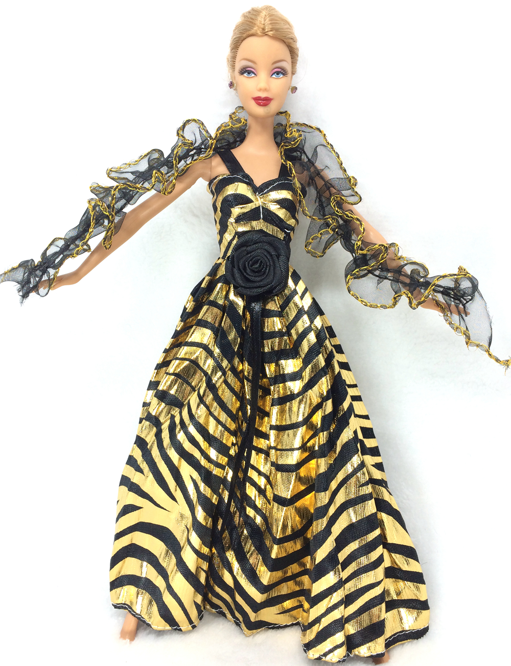 NK Newest Princess Golden Dress Lace Tippet Noble Party Gown For Barbie Doll Fashion Design Outfit Best Gift For Girl Doll 029B