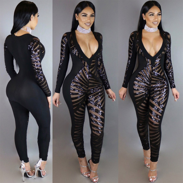 8716093eca4 Women Skinny Lace Blaze Sequin Jumpsuit Black Sexy Deep V-Neck Long Sleeve  Overalls One Piece Rompers Womens Jumpsuit