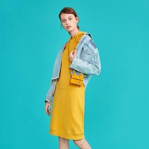 Image 4 - Toyouth חדש סתיו ארוך סוודר שמלות לנשים ארוך שרוול Pokects מקסי גבירותיי שמלת כותנה H קו מוצק Vestidos mujer
