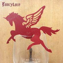 60pcs Unicorn Wedding Table Decoration Paper Place Cards Laser Cut Wine Glass For Birthday Party