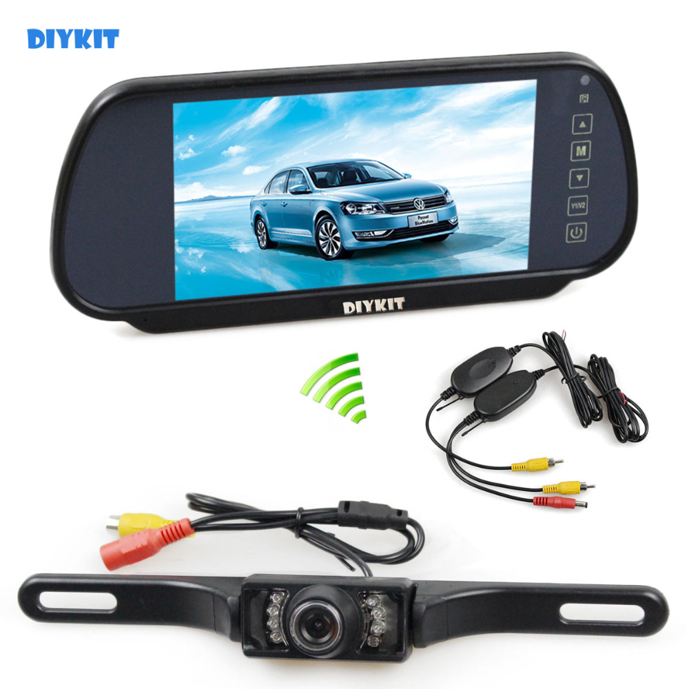 DIYKIT Wireless Parking System IR Night Vision HD Rear View Car Camera With 7 inch Car Rear View Mirror Monitor