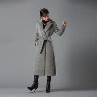 2018 модные женские туфли Пальто Длинные Альпака шерсть пальто Для женщин с длинным рукавом Шерстяные пиджаки Высокое качество пальто Модный
