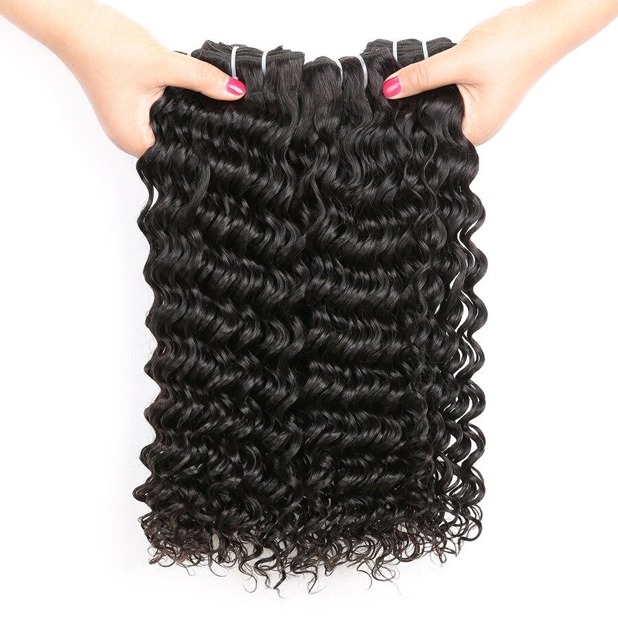 Mslynn Hair Deep Wave Brazilian Hair Weave Bundles Human Hair 3 Bundle Deals 10-28 Inch Non Remy Hair Extension Natural Color