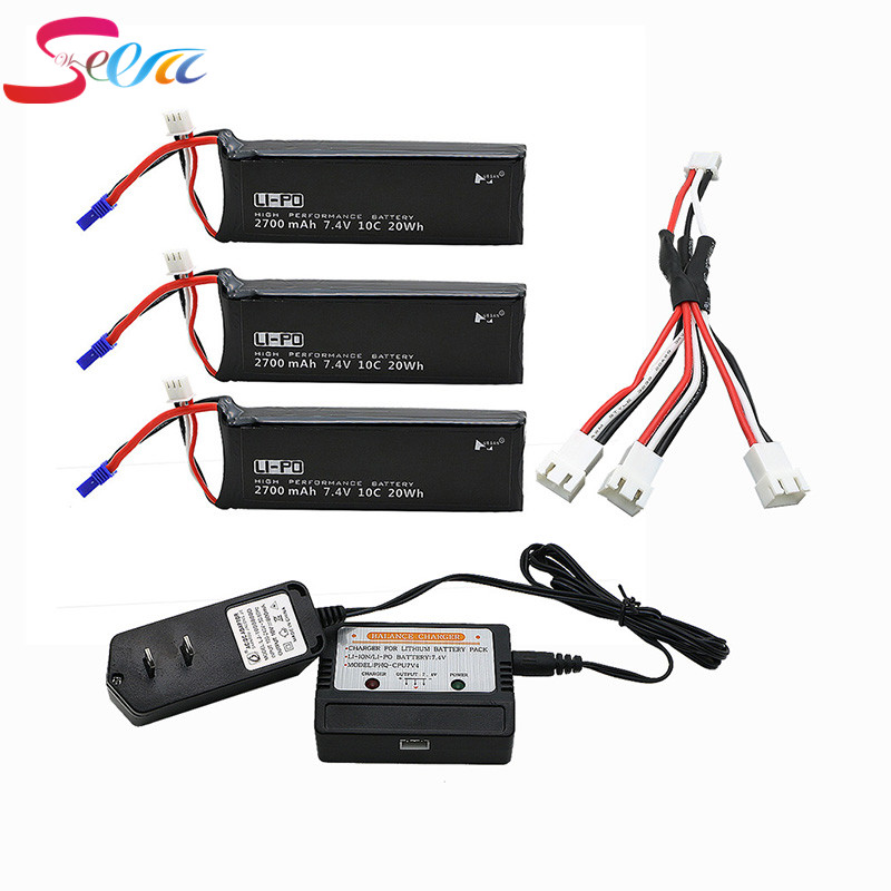 3pcs 7.4V 2700mAh 10C Batteies with cable for charger Hubsan H501C rc Quadcopter Airplane drone Spare Hubsan H501S lipo battery 4pcs 7 4v 2700mah 10c hubsan h501s lipo battery batteies with cable for charger hubsan h501c rc quadcopter airplane drone spar