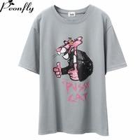 PEONFLY Harajuku T Shirt Women Cartoon Printed Cotton T Shirts Spring Summer Top Tee Girl Lovely