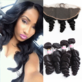 Brazilian Virgin Hair 4 Bundles Loose Wave Brazilian Ear To Ear Lace Frontal With Baby Hair And Bundles Malibu Dollface Frontal
