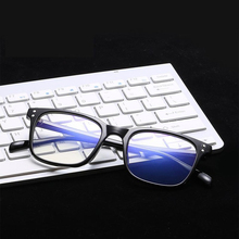 Fashion Computer Glasses Men Women Square Anti Blue Light Radiation Coating Film Tinted 0 Degree Clear Lens for Work Home Gaming