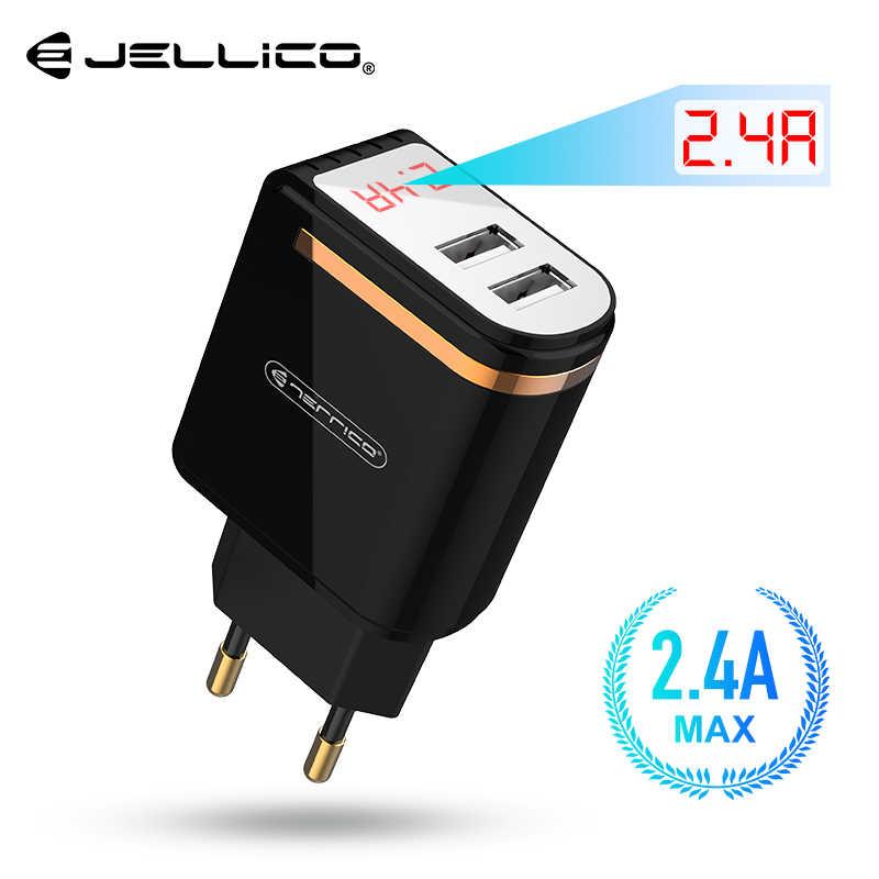 Jellico LED عرض 2 USB شاحن آيفون 2.4A سريع شحن الجدار شاحن سامسونج شاومي الاتحاد الأوروبي التوصيل LED شاحن الهاتف المحمول