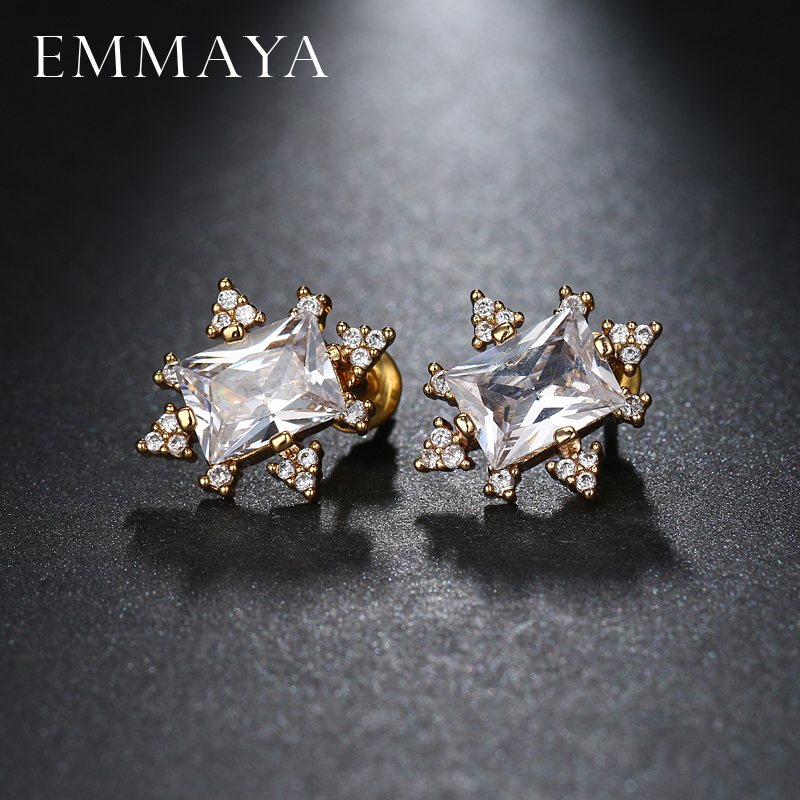 EMMAYA Charming Rectangle Stellux Austrian Crystal With AAA Small CZ Stud Earrings For Women