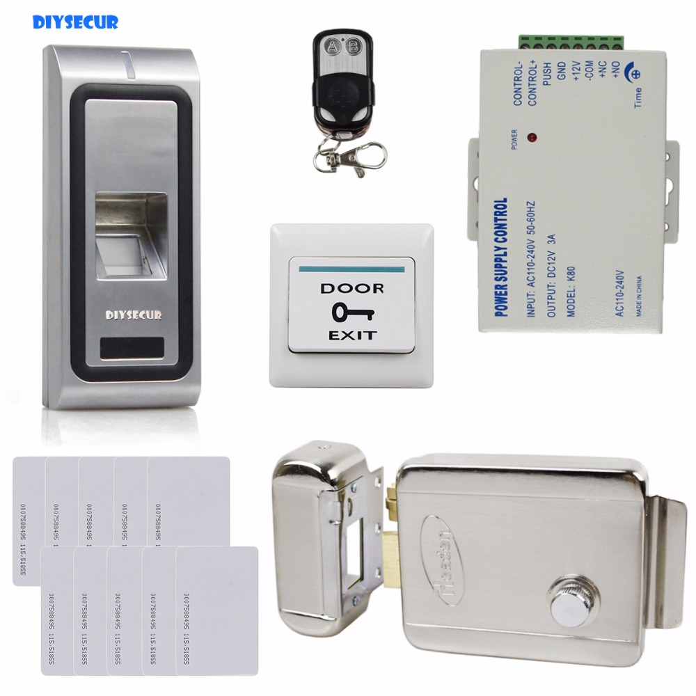 DIYSECUR Fingerprint 125KHz RFID ID Card Reader Metal Case Door Access Control System Kit + Electric Lock + Remote Control