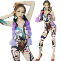 Ds costume dance dj combination print jumpsuit