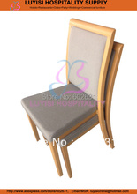 Hot sale stackable wood imitation Aluminum dining chair(China)