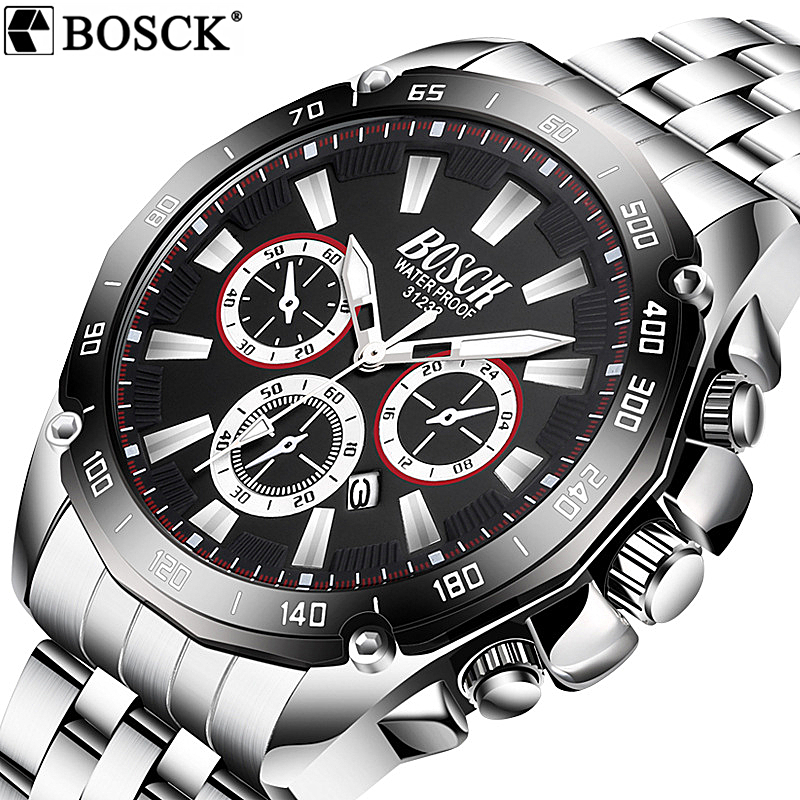 2018 BOSCK Business Top Brand Men Watch Waterproof Full Stainless Steel QuartzWatch Military Watch Man Wristwatch With Calendar waterproof watch for women nuodun top brand hot sale ladies business watch with calendar week woman wristwatch assista mulher