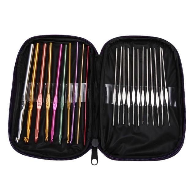 22pcs Multi Coloured Aluminium Crochet Hooks Knitting Needles Set Weave Craft with Bag Embroidery Needlework Supply