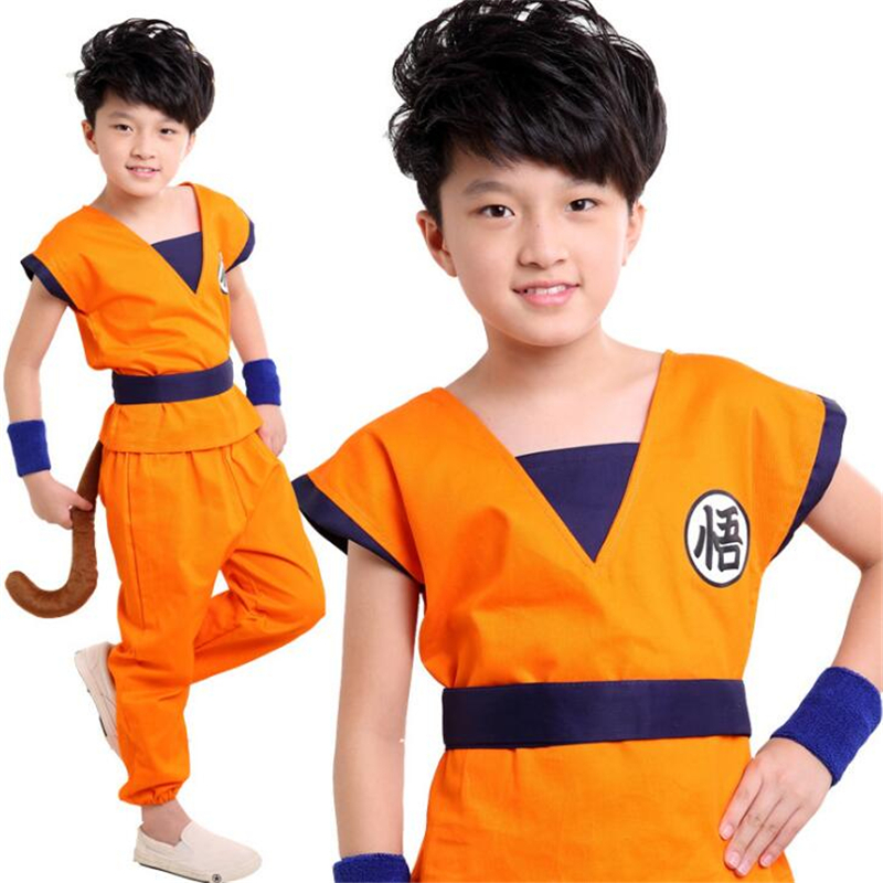 Hot Animation Dragon Ball Z Son Goku Childrens Wear Cosplay Suit Costume Top/Pant/Belt/T ...