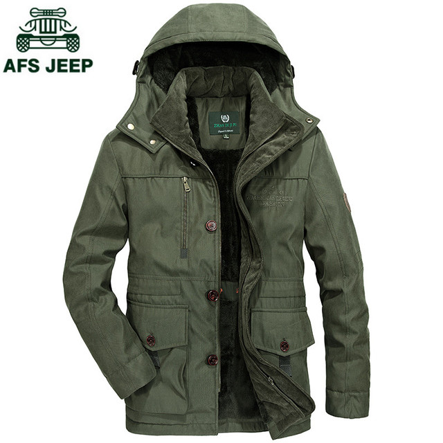 07ef5954e623 AFS JEEP Brand Long Parkas Men Winter jacket Men Warm Thick Fleece Branded  Jacket Cotton-Padded Jacket Mens Parka Coat