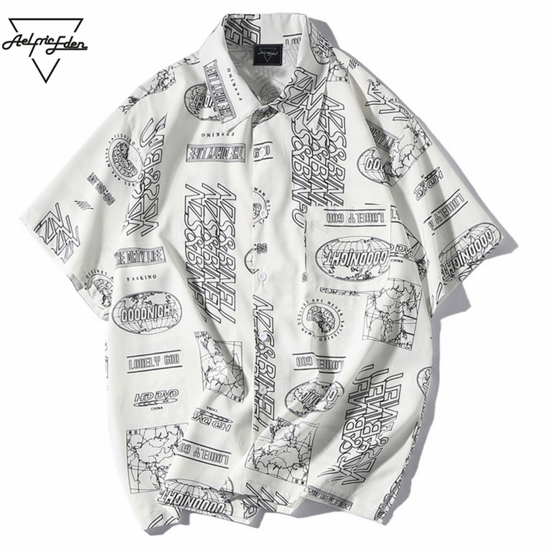 Aelfric Eden 2018 Summer Letter Printed Short Sleeve Shirts Casual Regular Fit Male Shirt Fashion Thin Hawaiian White Shirt HE08 ...