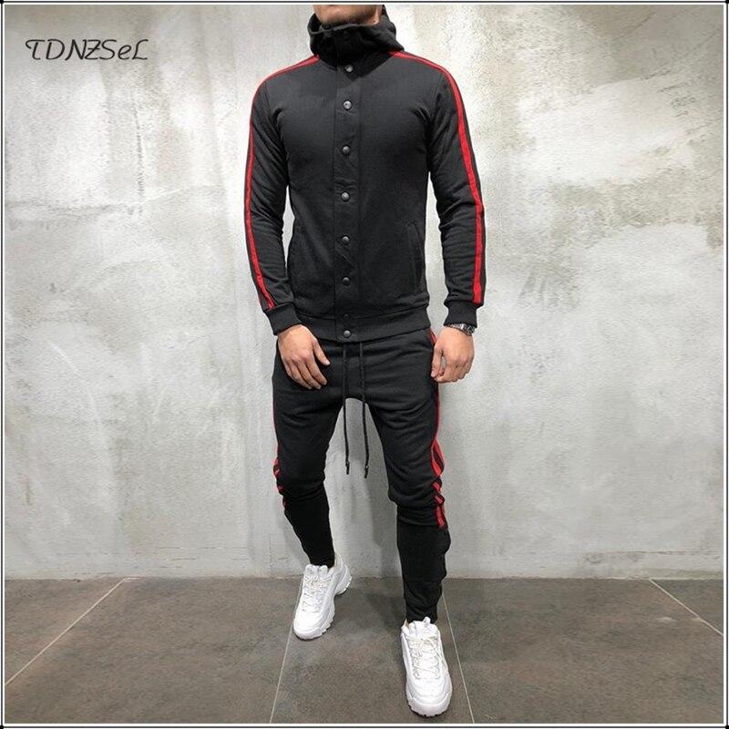 Mens Jogger Sweatsuit Tracksuit 2 Pieces Set Hoodies Button Fashion Hip-Hop Matching Suit Side Striped Slim Trousers Sports Sets