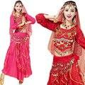 Nuevo 4 unids Conjunto Egipto Rendimiento Moneda Tribales de Bollywood Indio del Traje de la Mujer Adulta Bellydance Vestido de Womens Danza Del Vientre Traje