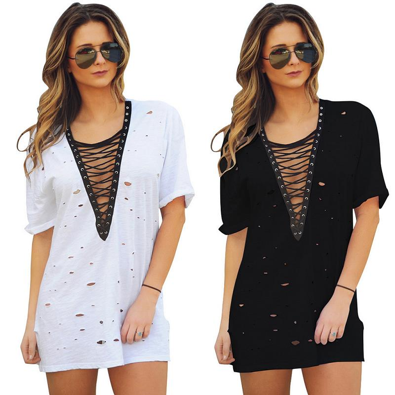 V-neck Short Sleeve Hollow Out Mini Bf Style Loose Summer Women Dress Fashion Casual Beach Dress Vestidos De Renda Black/White