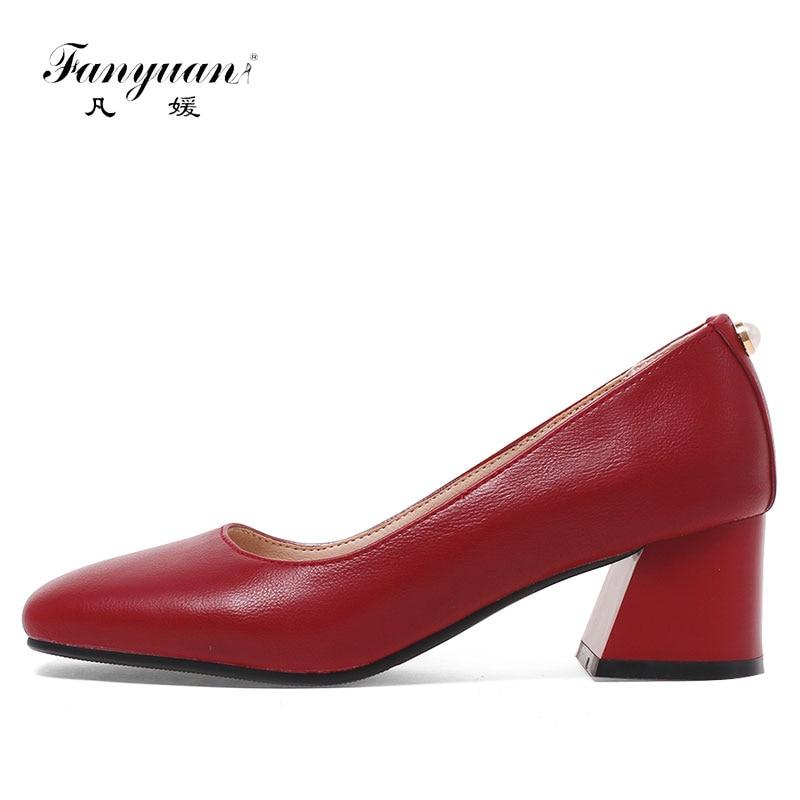 цена на Fanyuan  Big Size 32-44 2018 New Fashion high heels women pumps thick heel classic black  red Apricot sexy prom wedding shoes