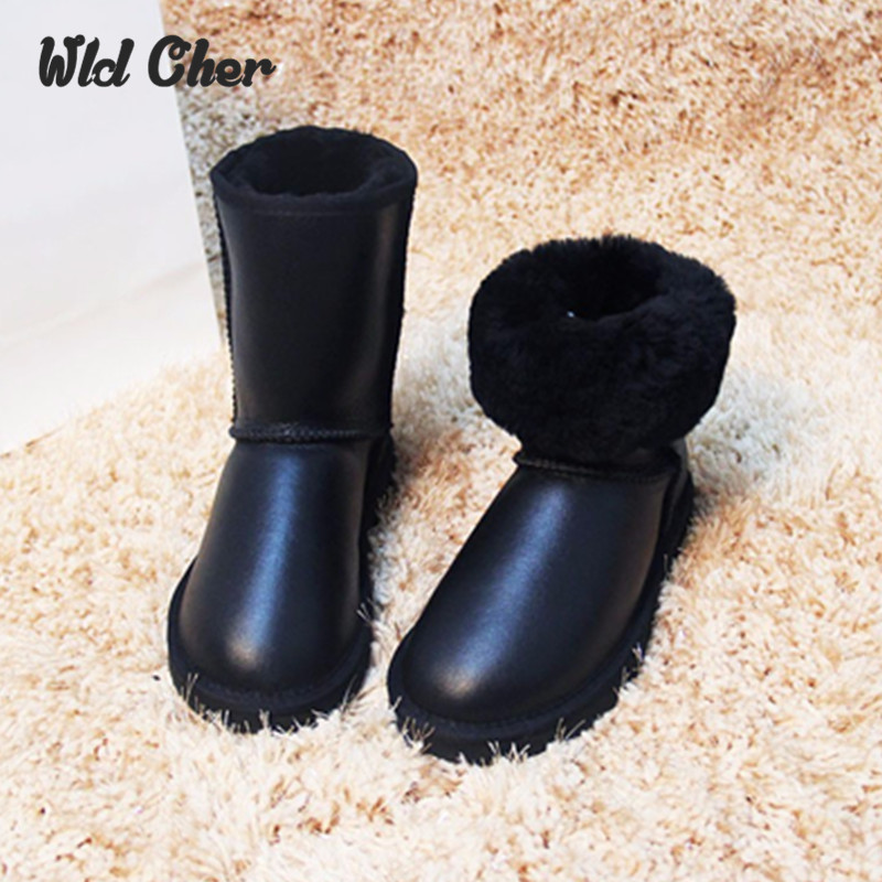 2017 Top Quality Genuine Sheepskin Leather Snow Boots for Women Waterproof Winter Boots 100% Natural Fur Wool Women Boots