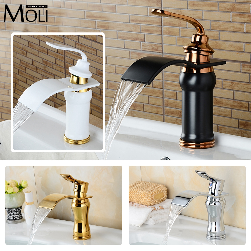 Bathroom Waterfall Basin Faucet Deck Mounted Single Handle Dual Control Water Tap Washbasin