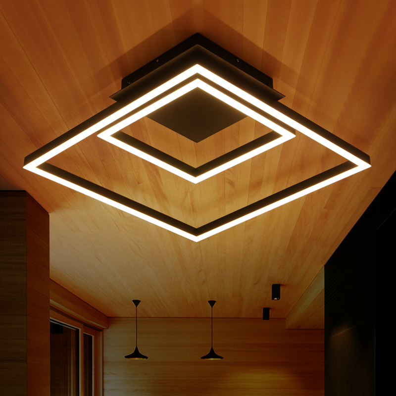 где купить New Black Square Modern led ceiling lights for living room bedroom Plafon led home Lighting ceiling lamp home lighting fixtures дешево