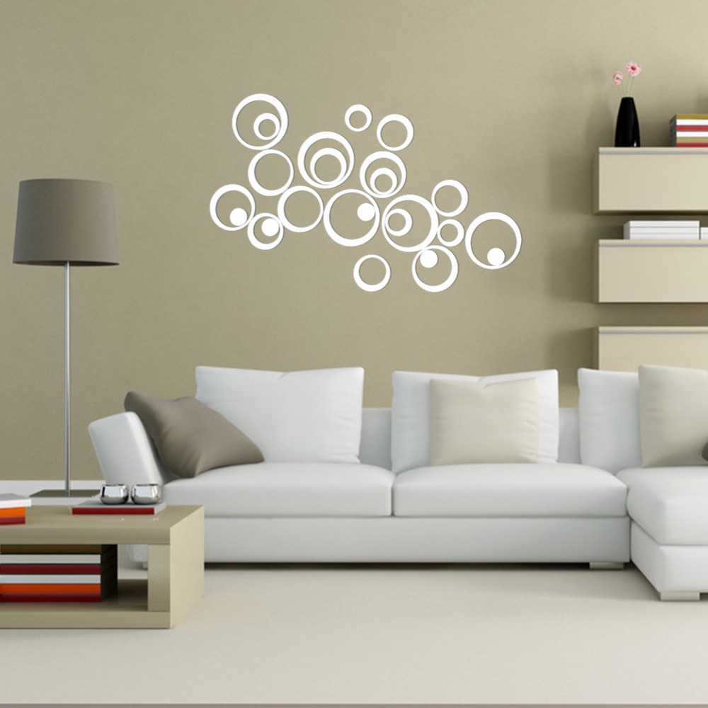 compare prices on artistic wall stickers online shopping buy low diy 25pcs artistic round wall stickers silver 3d acrylic mirror surface wall stick home office bedroom
