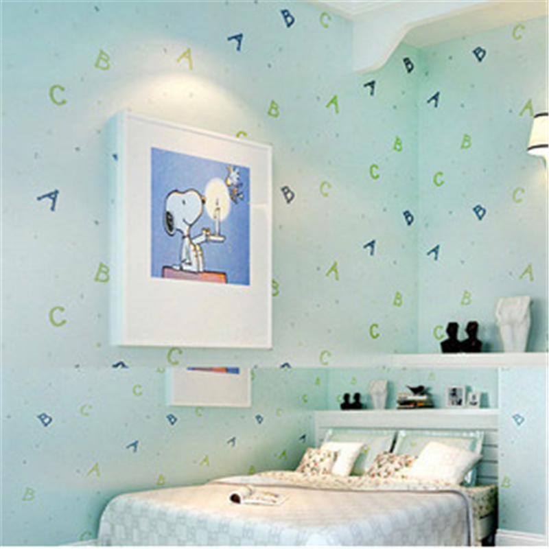 beibehang Lovely ABC Print Kid Bedding Room Wallpapers Ecofriendly Fantasy Non-woven Wall Paper Children Mural Wallpaper roll