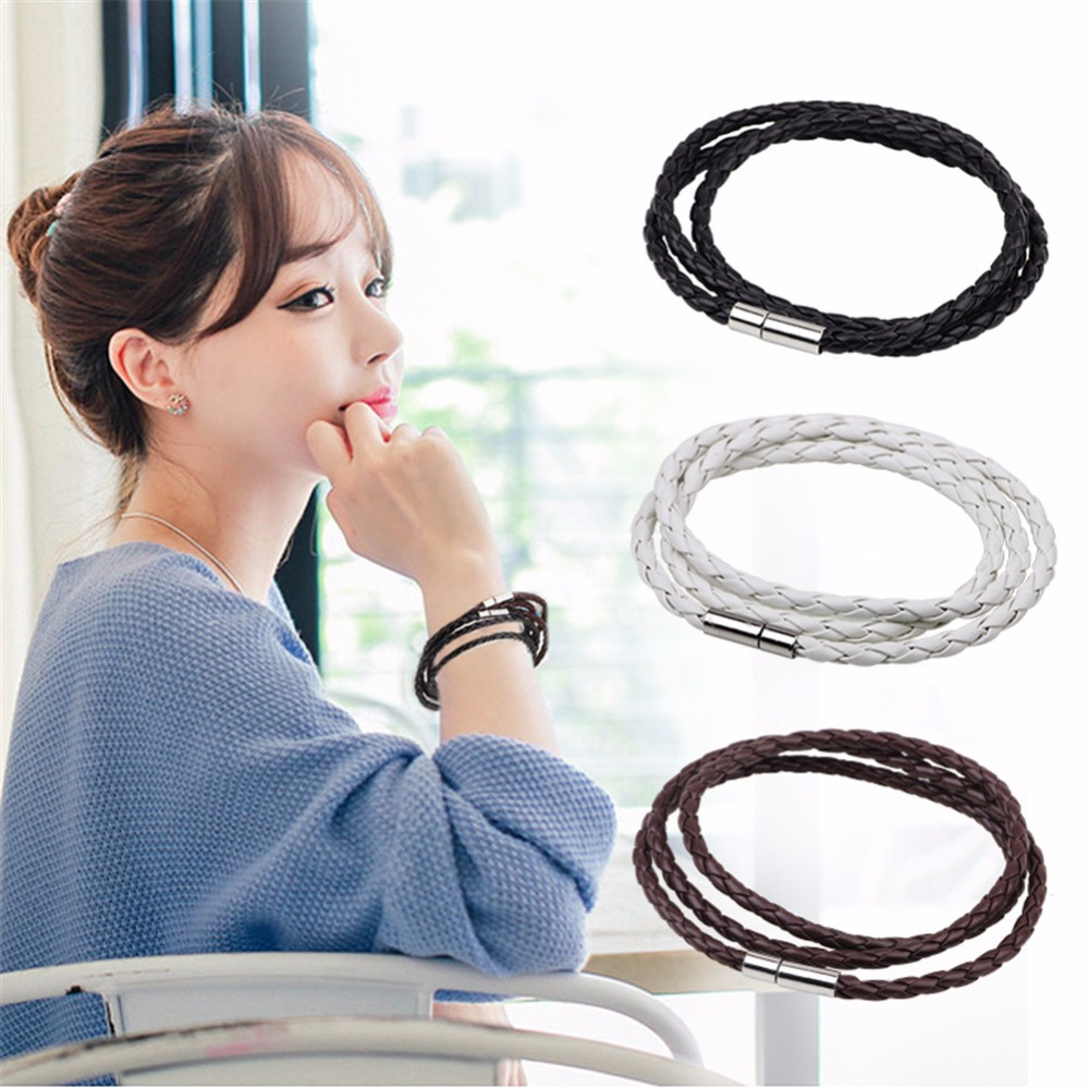 Druzy Newest European Style Women Men Braided 59.5cm Rope Leather 3-Strand Bracelets Metal Buckle Charm Bangle Black/White/Brown