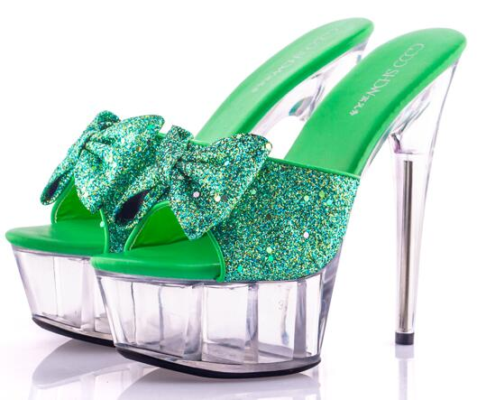 Women Shoes Butterfly-knot Slides Ultra-high-heeled 15cm Sequined Cloth Sandals Fine With  Wedding Dress Banquet Sexy Big Yards