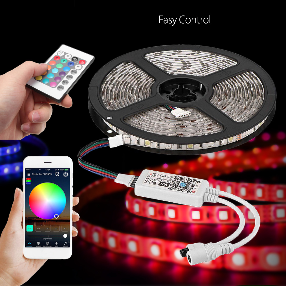 Smuxi EU Plug 5M/16.4Ft D5050 Smart WiFi RGB 300 LED Strip Light Streifen Stripe APP Work with Alexa Google Home led strip light wifi alexa compatible full kit smart phone controlled music 5050 rgb led strip work with google home android ios