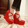 2016 12.5cm heel women ankle strap shoes round toe high heel pumps nice dress black white red shoes wedding pumps big size 34-43