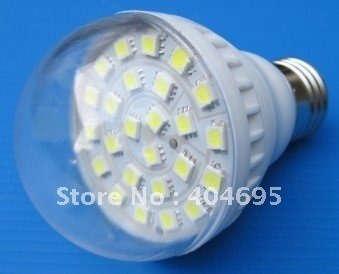 Free shipping  10pcs 5w brightness led light bulbs solar power / battery DC 12V / 24V 5050SMD 24LEDS E27  led lamp