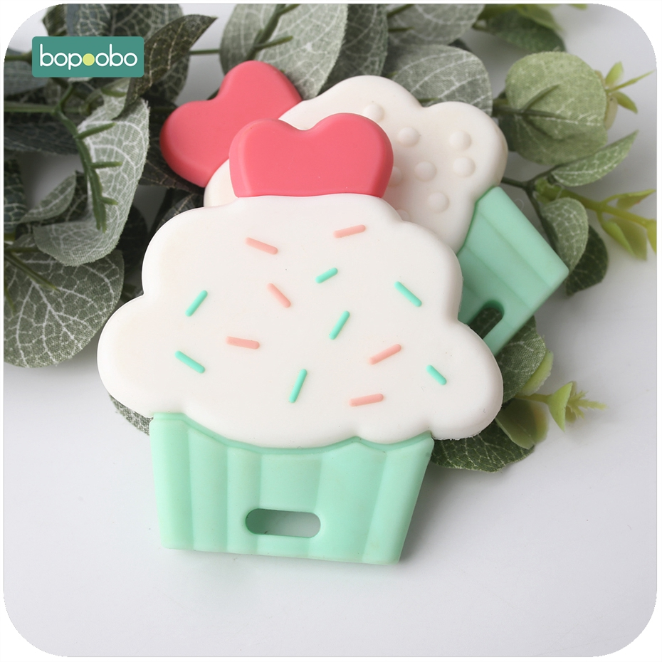 Bopoobo 1pc Silicone Cup Cake Teether Cute Food Grade Silicone Pendants Diy Accessories Nursing Teething Toys Baby Teether