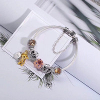 WinTion PAN Sterling Silver Jewelry Cartoon Character Cat Eye Finished Bracelet Elegant, temperament, simple ornament