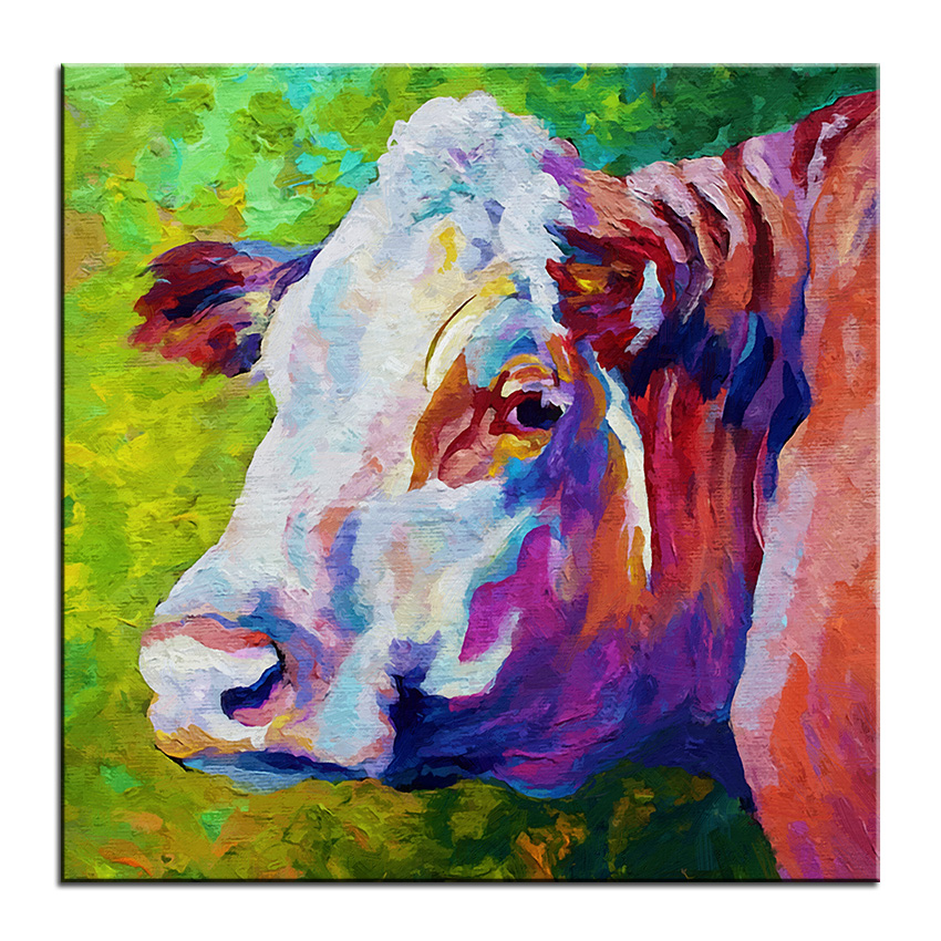 Cow Wall Art aliexpress : buy large size printing oil painting white face