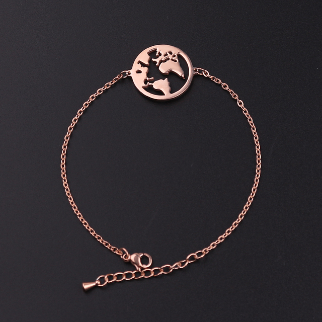 World Map Bracelets Bangles Jewelry Globe Bracelet Charm Travel