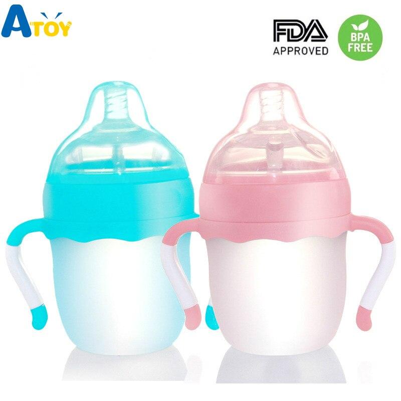 160s 260 Ml Silikon Fütterung Flasche Baby Pflege Milch Flaschen Squeeze Milch Flaschen Baby F Baby Jucie Wasser Flasche Bpa Frei Fütterung