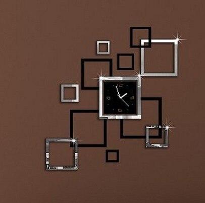 Acheter livraison gratuite d coration effet miroir sticker horloge murale for Horloge murale moderne salon
