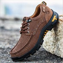 Stylish Men Comfortable Sneakers Waterproof Shoes Hiking Shoes Anti-skid Outdoor Sports Shoes Leather Sneakers Man Hiking boots camel outdoor men s hiking shoes hiking shoes anti skid shock absorption sweat wear low to help outdoor shoes a632026165