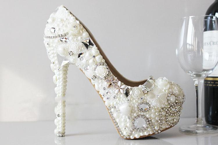 ФОТО Crystal Pearl Flower Rhinestone Wedding Sandal Shoes Handmade Bridal Crystal High-heeled Shoes Wedding shoes for women