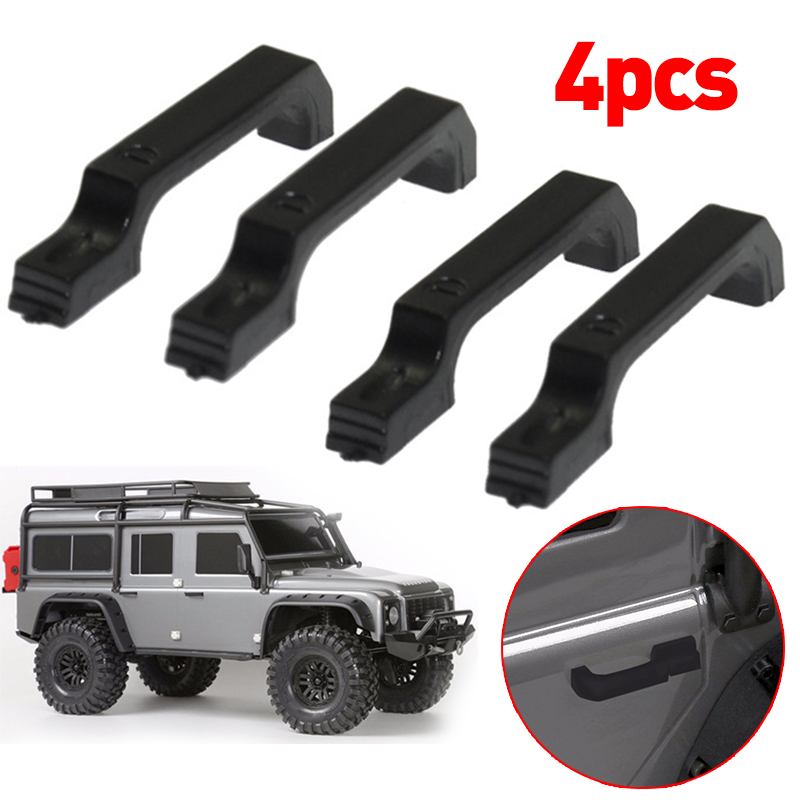 4Pcs set Black Car Door Handle For 1 10 RC Crawler Car Accessories 2019 New Sales in Parts Accessories from Toys Hobbies