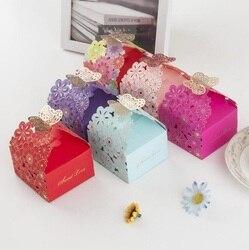 Caixa de doces saco de papel chocolate pacote de presente para festa de casamento de aniversário favor decoração suprimentos diy chá de bebê borboleta wh