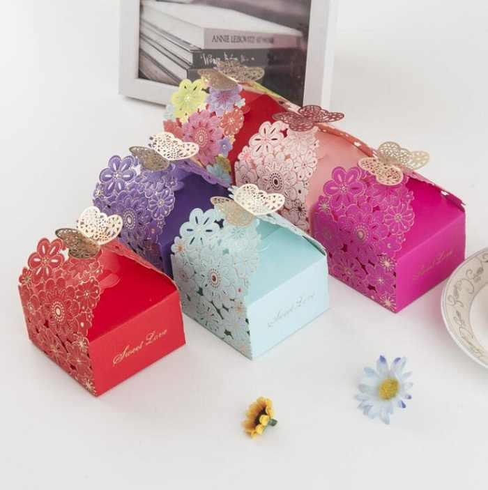 キャンディーボックスバッグチョコレート紙ギフトパッケージ用誕生日ウェディングパーティーの好意の装飾用品diyベビーシャワー蝶wh