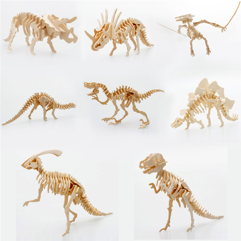 Starz DIY 3D Wooden Animals Dinosaur Skeleton Puzzles Toys ...