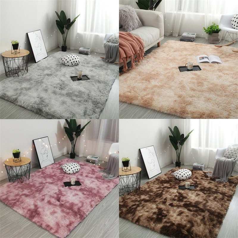 Gradient Color Living Room Carpet European Long Hair Fashion Bedroom Mat Bay Window Bedside Blanket Washable Personality Rug