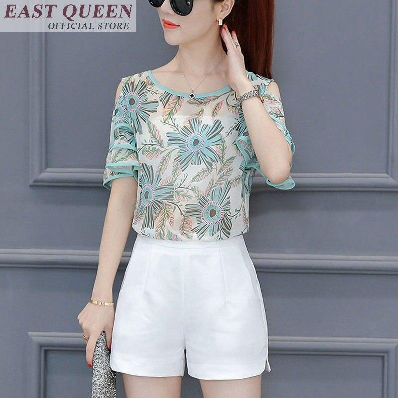 Women's chiffon blouses o neck floral print short sleeve hollow out feminine shirts casual elegant ladies blouse tops DD666 L