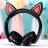 Cat Ear Headphones Wireless Bluetooth 5.0 Headset with LED Light Foldable Stereo Earphone with Mic for PC Computer Mobile Phone
